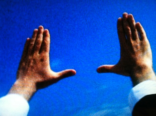 Klein's hands selecting a sky frame.